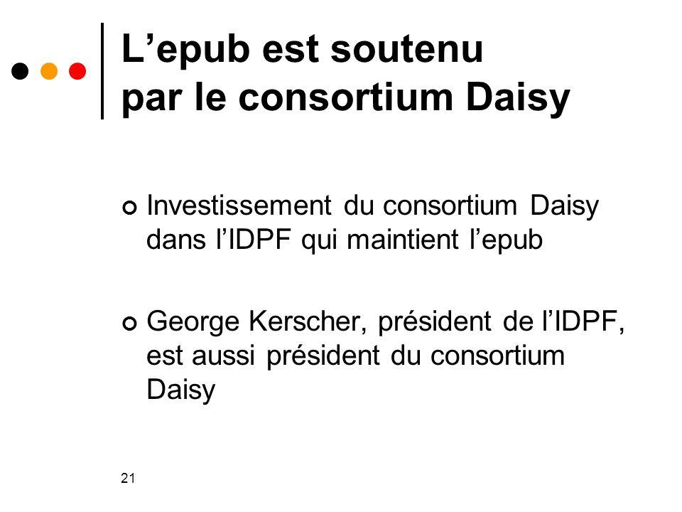 21 L'epub est soutenu par le consortium Daisy Investissement du consortium Daisy dans l'IDPF qui maintient l'epub George Kerscher, président de l'IDPF