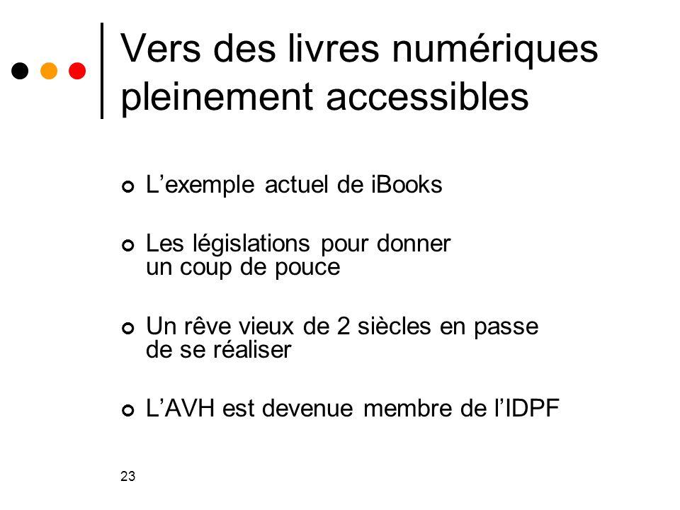 23 Vers des livres numériques pleinement accessibles L'exemple actuel de iBooks Les législations pour donner un coup de pouce Un rêve vieux de 2 siècl