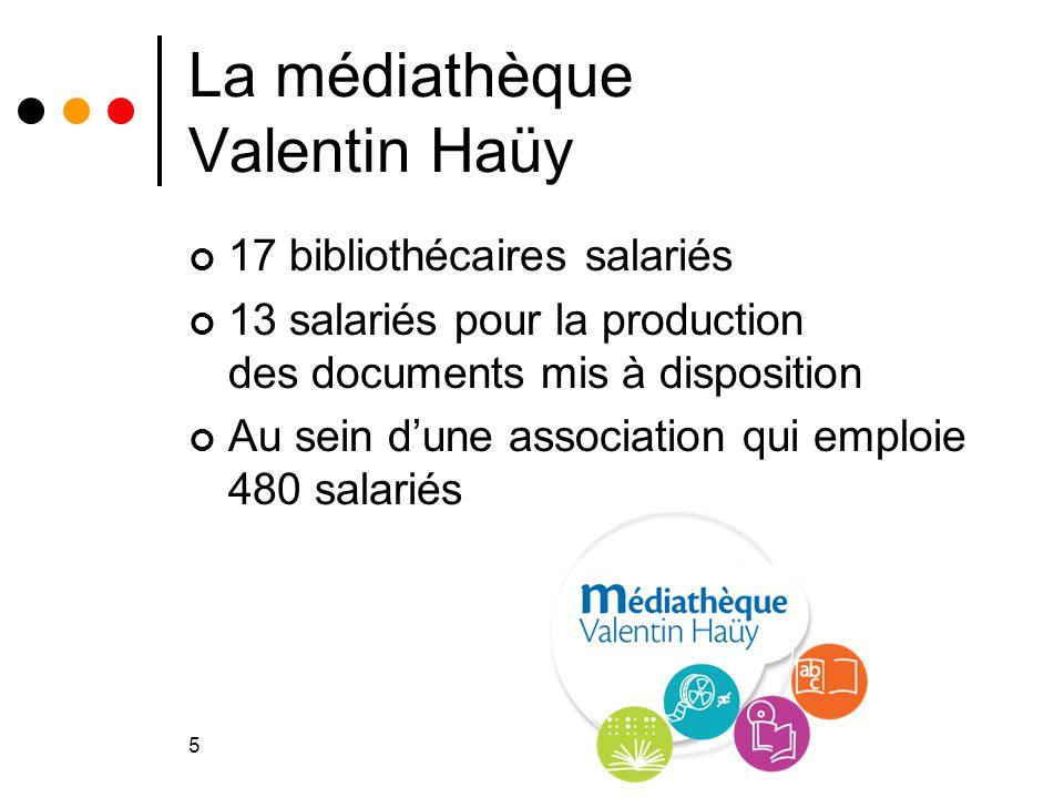 5 La médiathèque Valentin Haüy 17 bibliothécaires salariés 13 salariés pour la production des documents mis à disposition Au sein d'une association qu