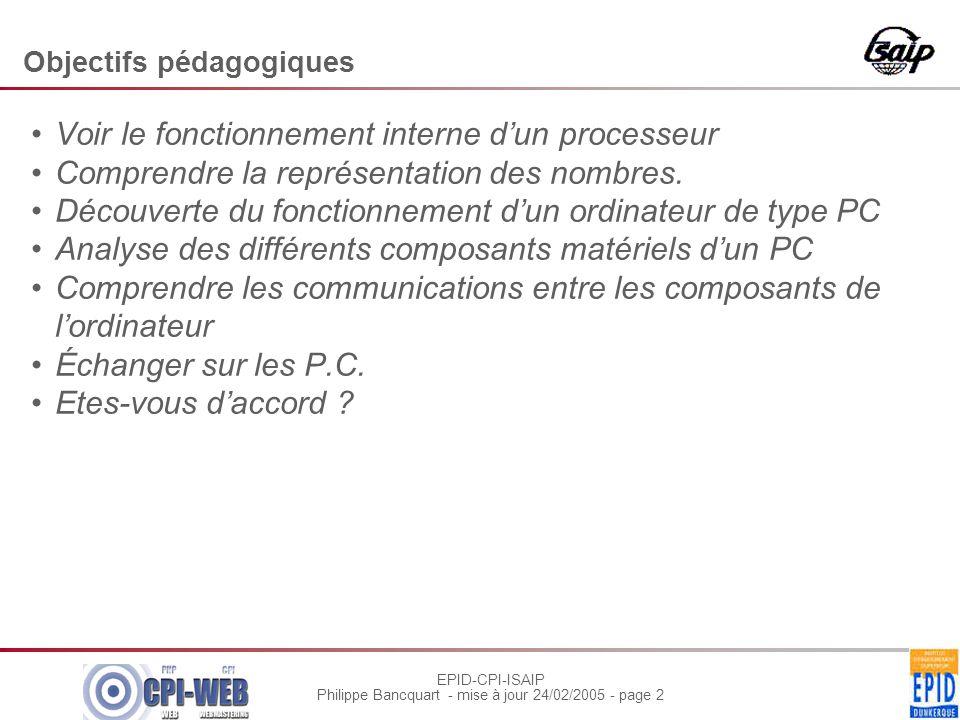 EPID-CPI-ISAIP Philippe Bancquart - mise à jour 24/02/2005 - page 3 Chaque étudiant présente devant ses collègues Choisir chacun un sujet.