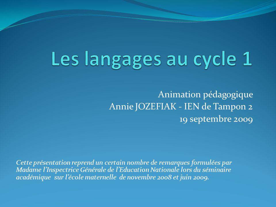 Animation pédagogique Annie JOZEFIAK - IEN de Tampon 2 19 septembre 2009 Cette présentation reprend un certain nombre de remarques formulées par Madame l'Inspectrice Générale de l'Education Nationale lors du séminaire académique sur l'école maternelle de novembre 2008 et juin 2009.