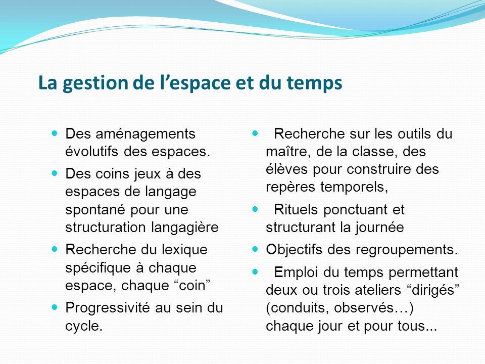 La gestion de l'espace et du temps Des aménagements évolutifs des espaces.