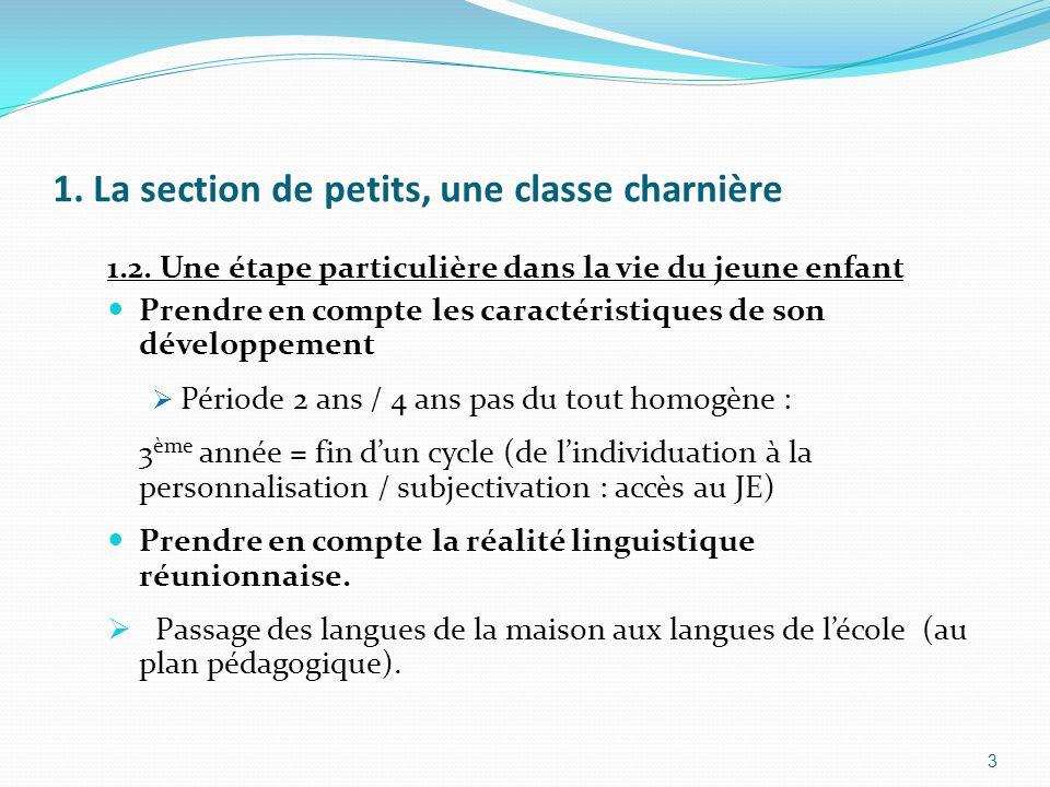 1.La section de petits, une classe charnière 1.2.