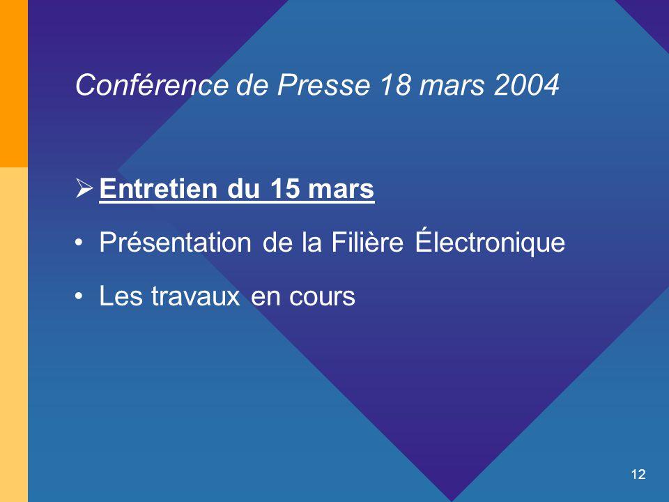 12 Conférence de Presse 18 mars 2004  Entretien du 15 mars Présentation de la Filière Électronique Les travaux en cours