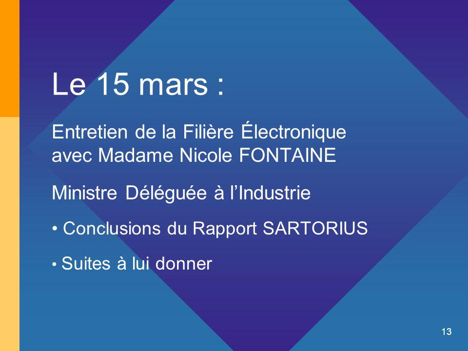 13 Le 15 mars : Entretien de la Filière Électronique avec Madame Nicole FONTAINE Ministre Déléguée à l'Industrie Conclusions du Rapport SARTORIUS Suites à lui donner