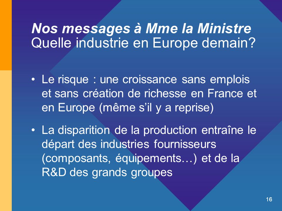 16 Nos messages à Mme la Ministre Quelle industrie en Europe demain.