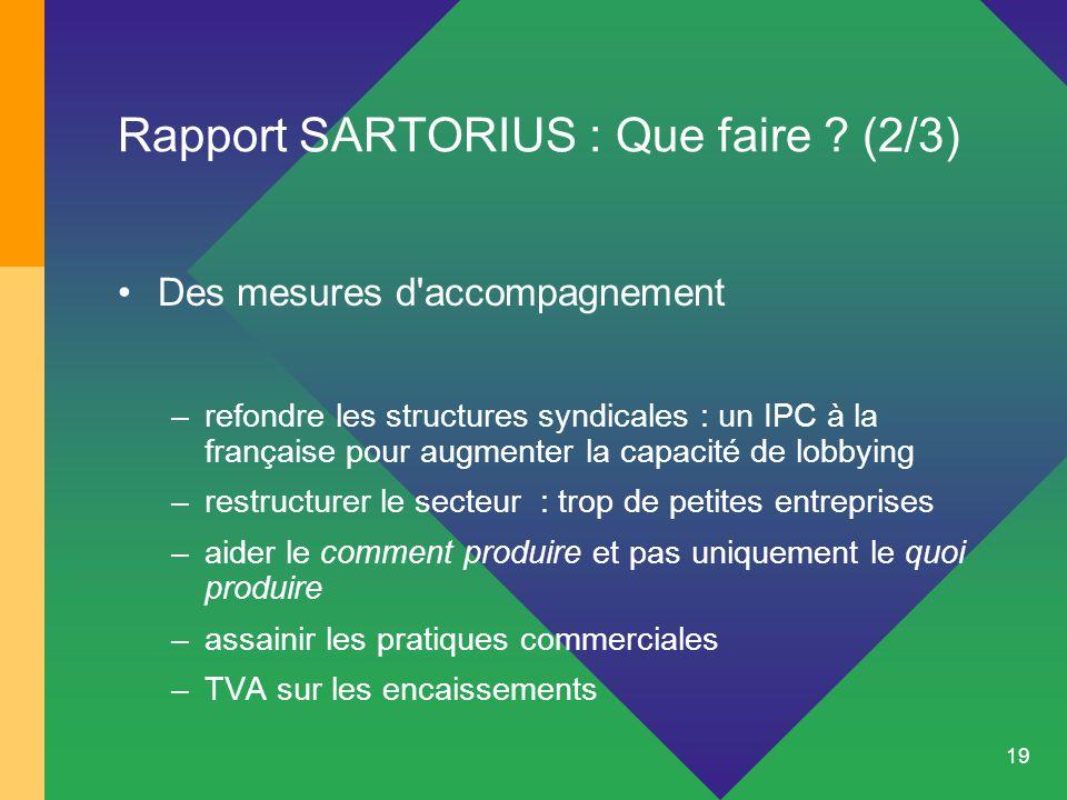 19 Rapport SARTORIUS : Que faire ? (2/3) Des mesures d'accompagnement –refondre les structures syndicales : un IPC à la française pour augmenter la ca