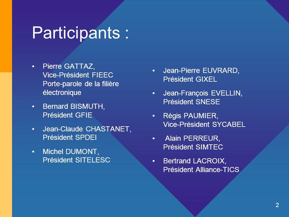 2 Participants : Pierre GATTAZ, Vice-Président FIEEC Porte-parole de la filière électronique Bernard BISMUTH, Président GFIE Jean-Claude CHASTANET, Président SPDEI Michel DUMONT, Président SITELESC Jean-Pierre EUVRARD, Président GIXEL Jean-François EVELLIN, Président SNESE Régis PAUMIER, Vice-Président SYCABEL Alain PERREUR, Président SIMTEC Bertrand LACROIX, Président Alliance-TICS