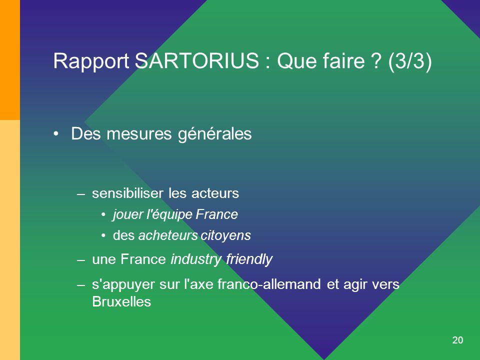 20 Rapport SARTORIUS : Que faire ? (3/3) Des mesures générales –sensibiliser les acteurs jouer l'équipe France des acheteurs citoyens –une France indu