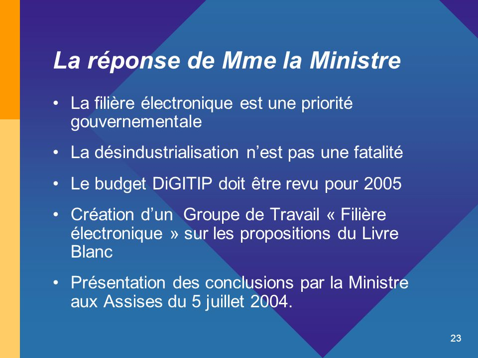 23 La réponse de Mme la Ministre La filière électronique est une priorité gouvernementale La désindustrialisation n'est pas une fatalité Le budget DiG