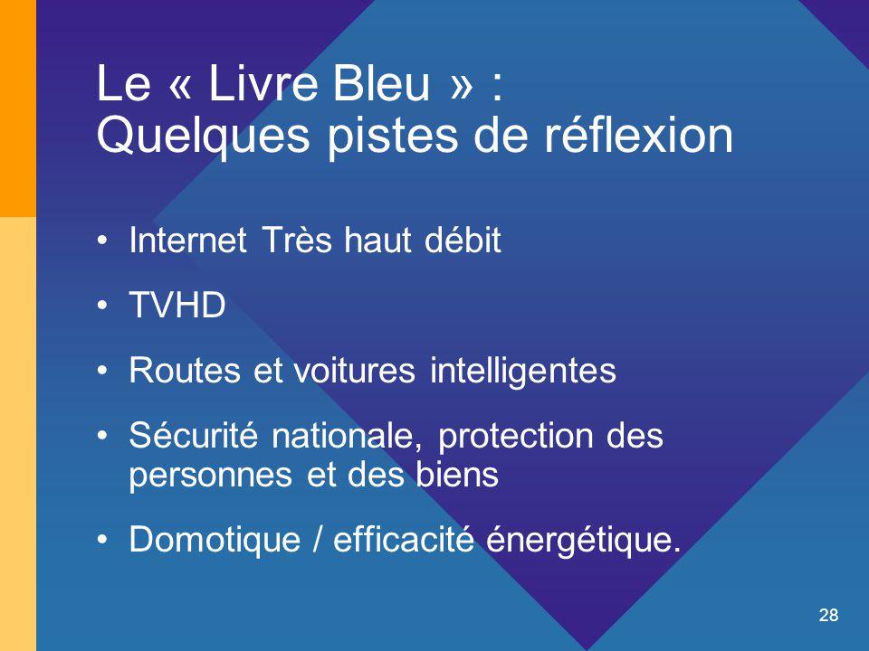 28 Le « Livre Bleu » : Quelques pistes de réflexion Internet Très haut débit TVHD Routes et voitures intelligentes Sécurité nationale, protection des personnes et des biens Domotique / efficacité énergétique.