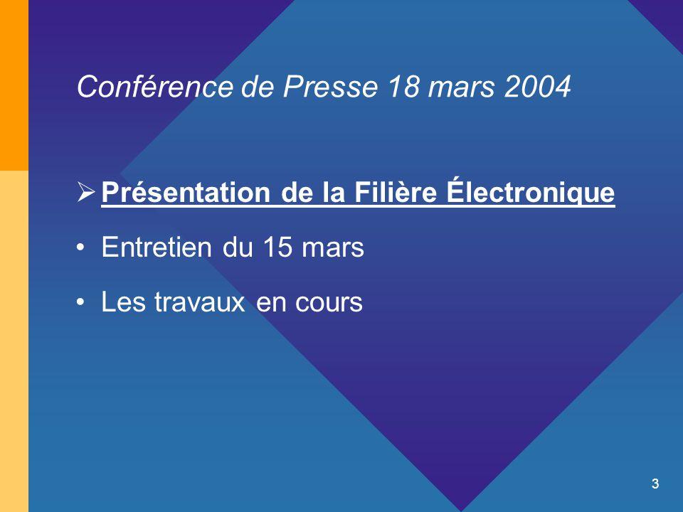 3 Conférence de Presse 18 mars 2004  Présentation de la Filière Électronique Entretien du 15 mars Les travaux en cours