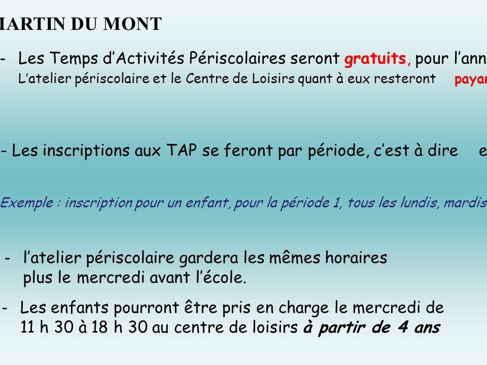 À ST MARTIN DU MONT -Les Temps d'Activités Périscolaires seront gratuits, pour l'année 2014/ 2015 ( sauf séance cinéma ).
