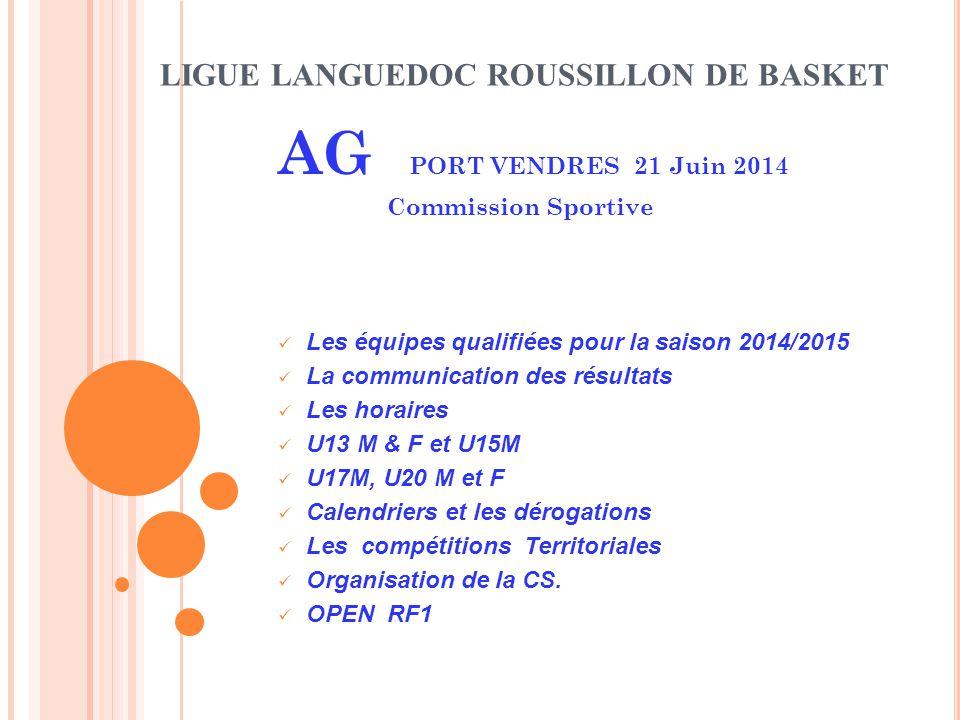LIGUE LANGUEDOC ROUSSILLON DE BASKET AG PORT VENDRES 21 Juin 2014 Commission Sportive Les équipes qualifiées pour la saison 2014/2015 La communication