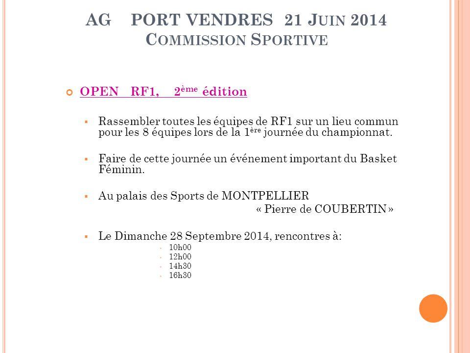 AG PORT VENDRES 21 J UIN 2014 C OMMISSION S PORTIVE OPEN RF1, 2 ème édition  Rassembler toutes les équipes de RF1 sur un lieu commun pour les 8 équip