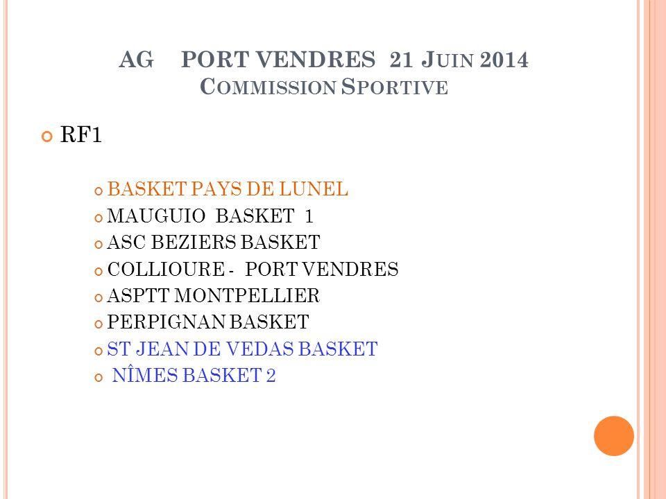 AG PORT VENDRES 21 J UIN 2014 C OMMISSION S PORTIVE RF2 BLMA MONTPELLIER 2 CANET RBC MAUGUIO BASKET 2 AS SERVIANNAISE CASTELNAU BASKET ENTENTE ALES BASKET PAYS DE LUNEL 2 BC SOLERIEN 2 CONNAUX MC BC FABREGUES ST ESTEVE BC BC NARBONNE M.