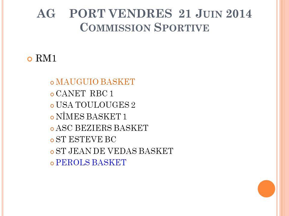 AG PORT VENDRES 21 J UIN 2014 C OMMISSION S PORTIVE RM2 BC NARBONNE M.