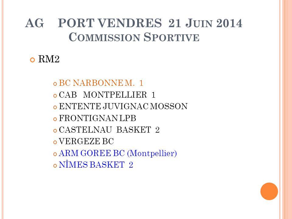 AG PORT VENDRES 21 J UIN 2014 C OMMISSION S PORTIVE RM2 BC NARBONNE M. 1 CAB MONTPELLIER 1 ENTENTE JUVIGNAC MOSSON FRONTIGNAN LPB CASTELNAU BASKET 2 V