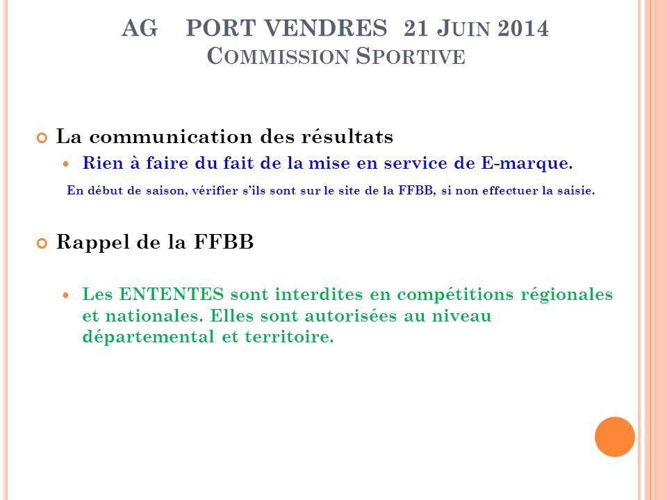AG PORT VENDRES 21 J UIN 2014 C OMMISSION S PORTIVE La communication des résultats Rien à faire du fait de la mise en service de E-marque. En début de