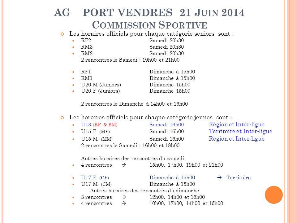 AG PORT VENDRES 21 J UIN 2014 C OMMISSION S PORTIVE Les horaires officiels pour chaque catégorie seniors sont : RF2Samedi 20h30 RM3Samedi 20h30 RM2Sam