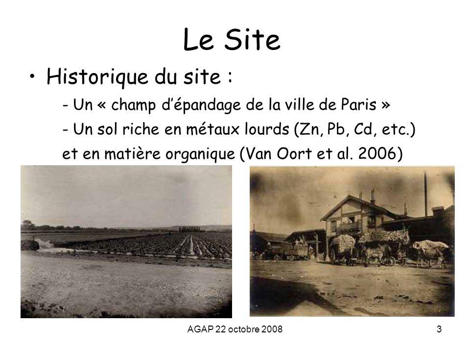 AGAP 22 octobre 20083 Le Site Historique du site : - Un « champ d'épandage de la ville de Paris » - Un sol riche en métaux lourds (Zn, Pb, Cd, etc.) e