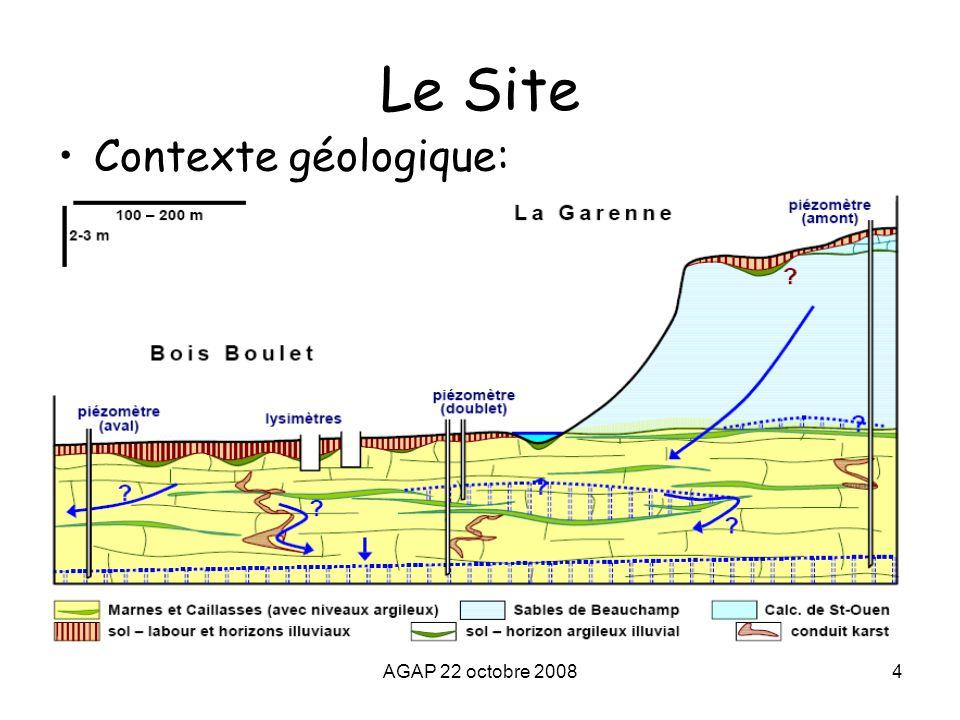 AGAP 22 octobre 20084 Le Site Contexte géologique: