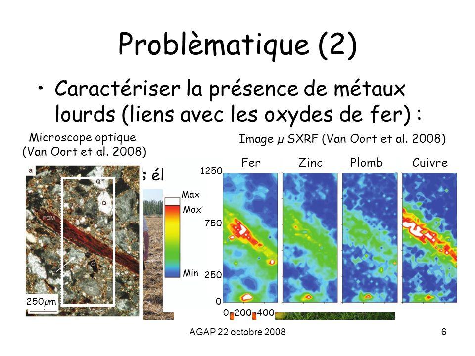AGAP 22 octobre 20086 Problèmatique (2) Caractériser la présence de métaux lourds (liens avec les oxydes de fer) : Méthodes électromagnétique et magné