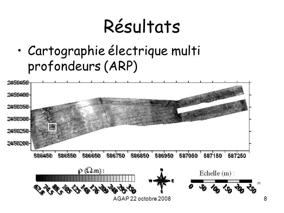 AGAP 22 octobre 20089 Résultats Zone 1 :résistivité électrique (ARP) 0 à 0,5 m0 à 1 m0 à 2 m Zones conductrices de forme polygonales