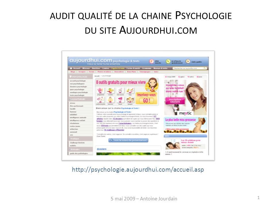 AUDIT QUALITÉ DE LA CHAINE P SYCHOLOGIE DU SITE A UJOURDHUI.