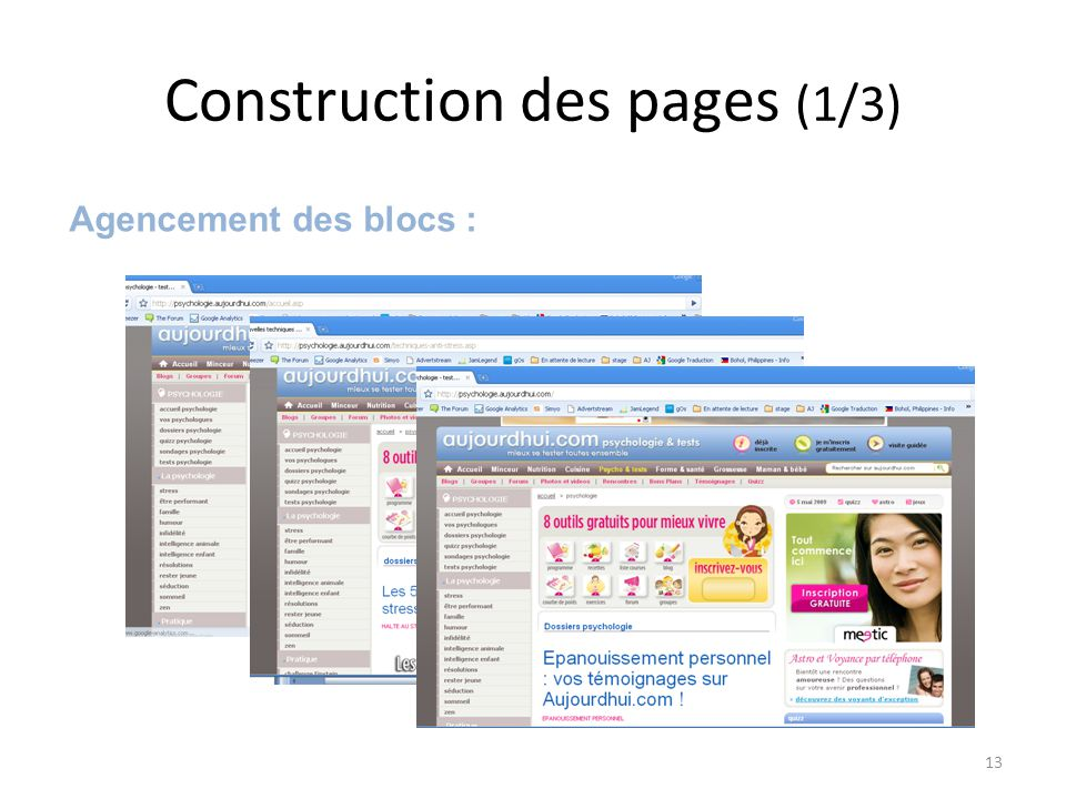 Construction des pages (1/3) Agencement des blocs : 13