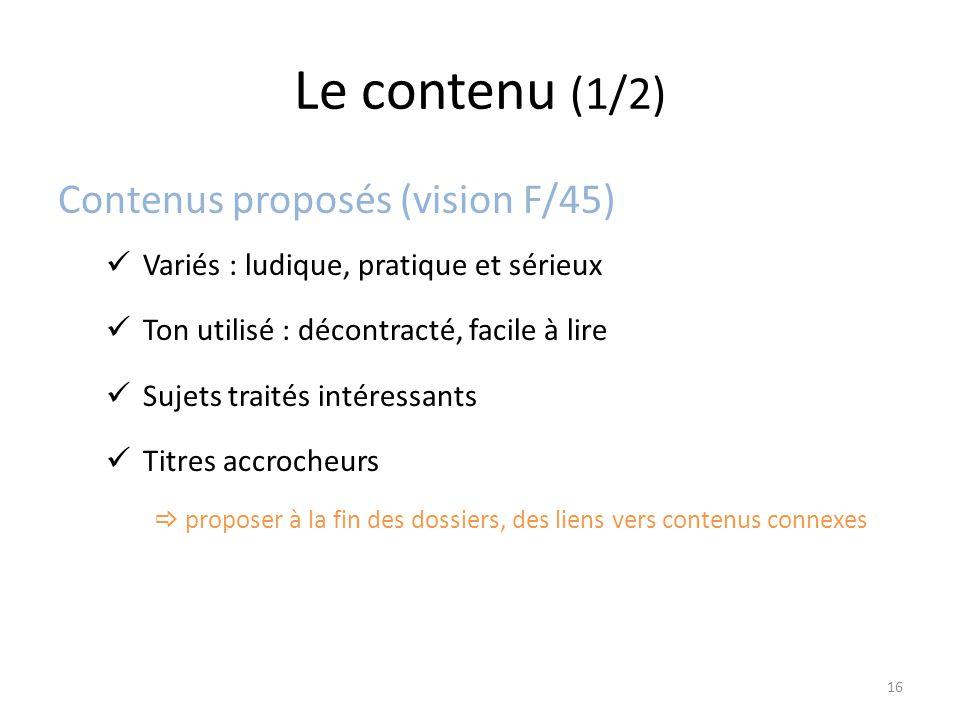 Le contenu (1/2) Contenus proposés (vision F/45) Variés : ludique, pratique et sérieux Ton utilisé : décontracté, facile à lire Sujets traités intéressants Titres accrocheurs  proposer à la fin des dossiers, des liens vers contenus connexes 16