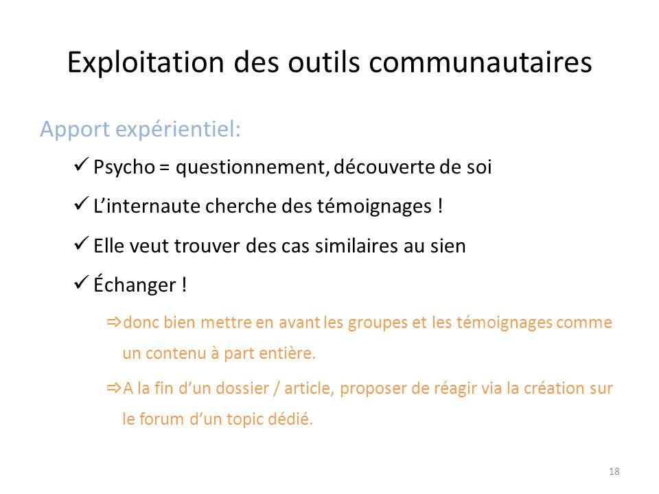 Exploitation des outils communautaires Apport expérientiel: Psycho = questionnement, découverte de soi L'internaute cherche des témoignages .