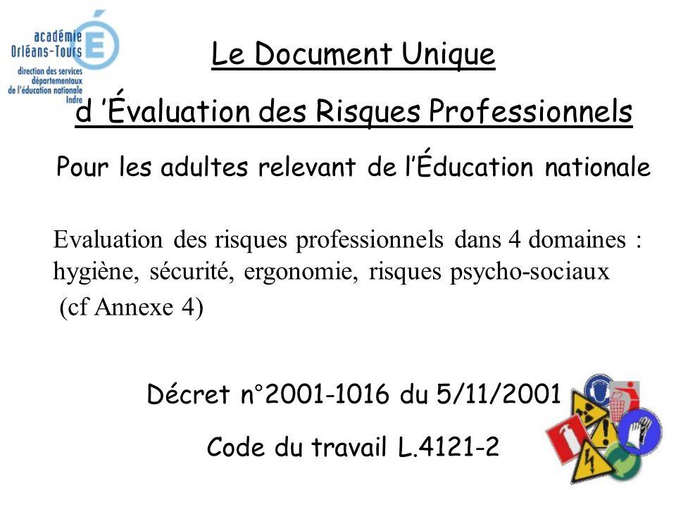 Le Document Unique d 'Évaluation des Risques Professionnels Pour les adultes relevant de l'Éducation nationale Evaluation des risques professionnels dans 4 domaines : hygiène, sécurité, ergonomie, risques psycho-sociaux (cf Annexe 4) Décret n°2001-1016 du 5/11/2001 Code du travail L.4121-2