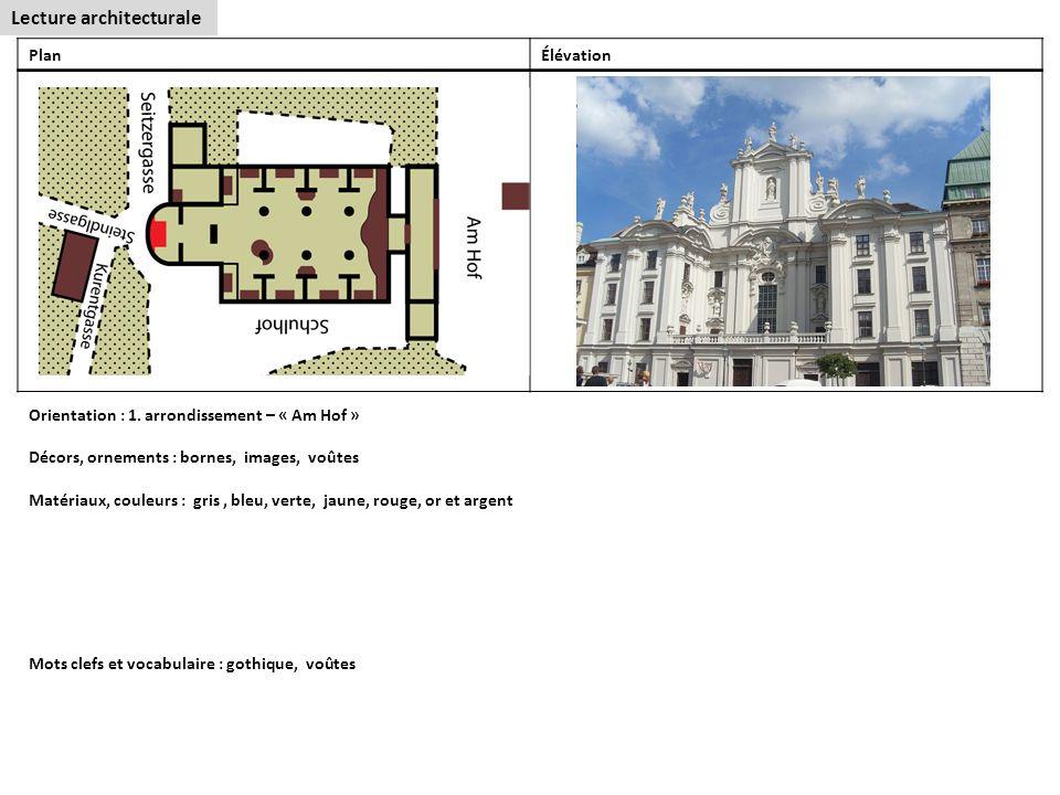Lecture architecturale PlanÉlévation Orientation : 1.