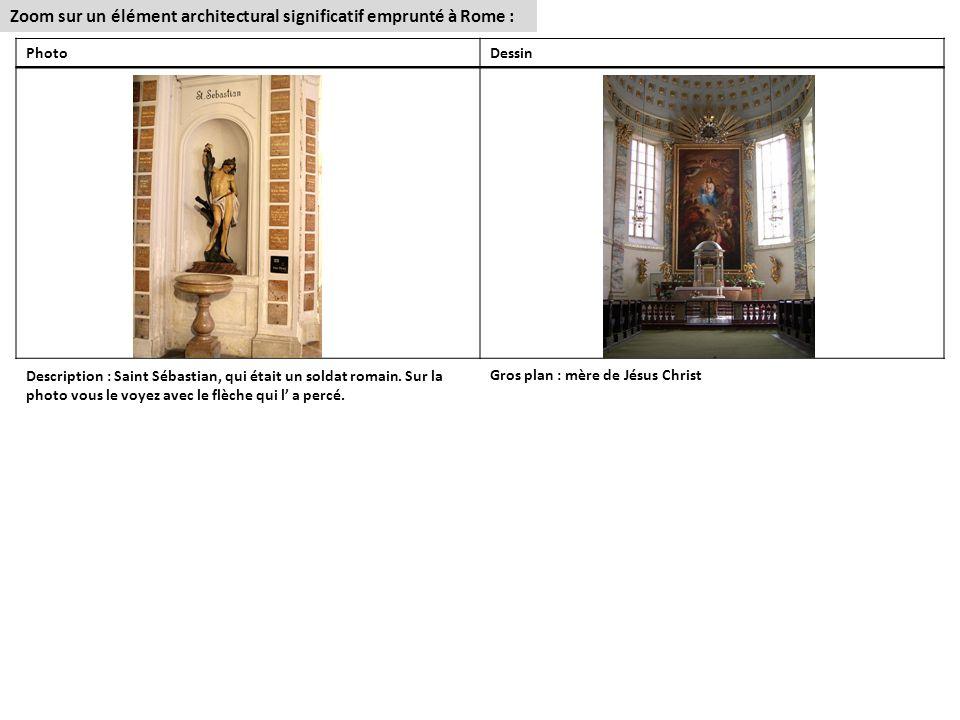 Zoom sur un élément architectural significatif emprunté à Rome : PhotoDessin Description : Saint Sébastian, qui était un soldat romain.