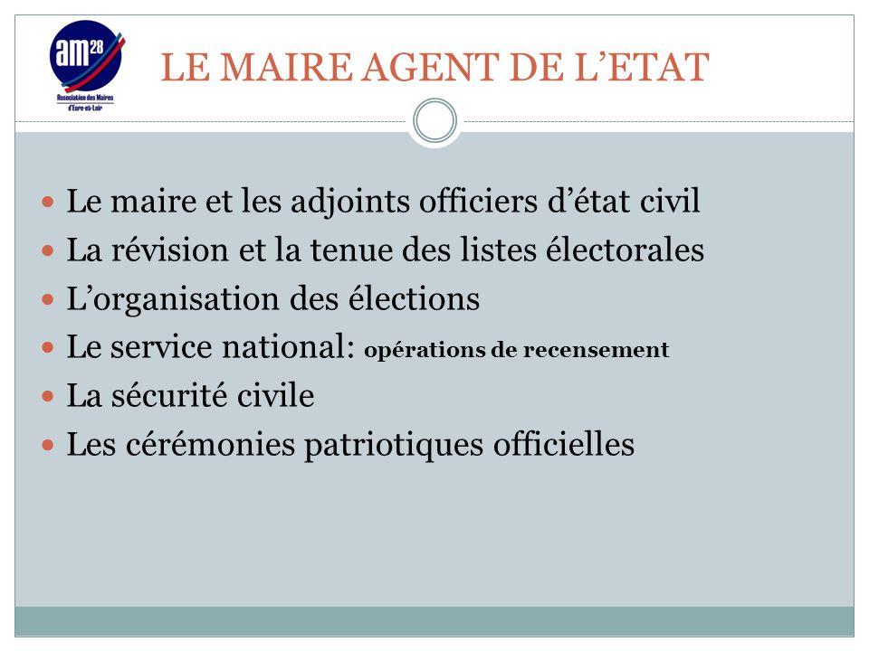LE MAIRE AGENT DE L'ETAT Le maire et les adjoints officiers d'état civil La révision et la tenue des listes électorales L'organisation des élections L