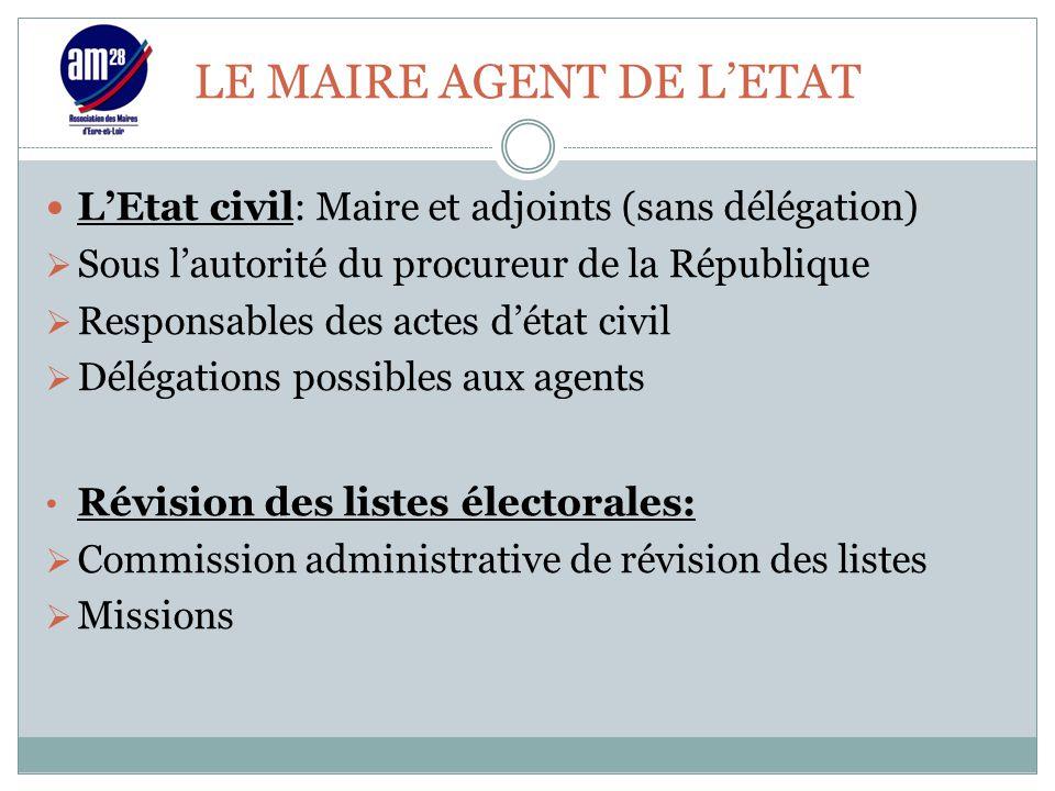 LE MAIRE AGENT DE L'ETAT L'Etat civil: Maire et adjoints (sans délégation)  Sous l'autorité du procureur de la République  Responsables des actes d'