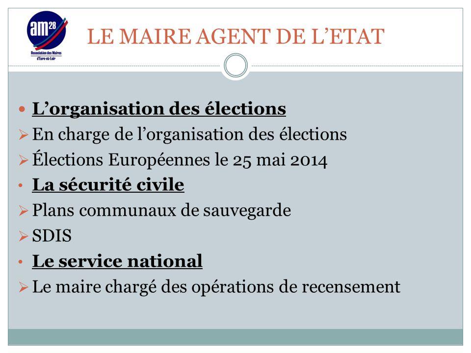 LE MAIRE AGENT DE L'ETAT L'organisation des élections  En charge de l'organisation des élections  Élections Européennes le 25 mai 2014 La sécurité c