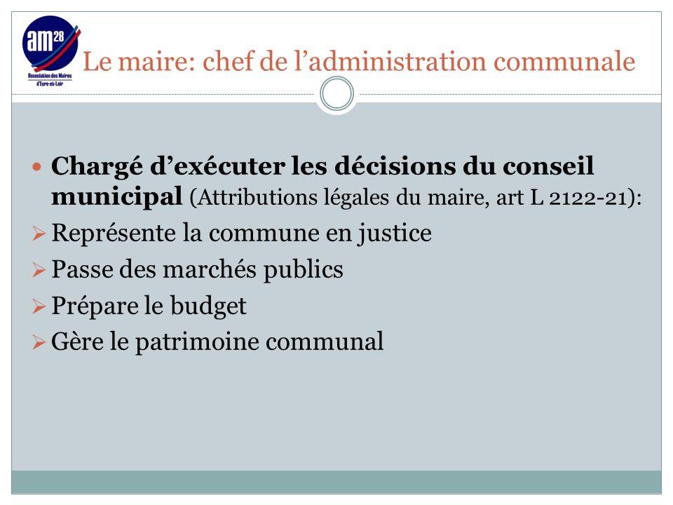 Le maire: chef de l'administration communale Chargé d'exécuter les décisions du conseil municipal (Attributions légales du maire, art L 2122-21):  Re