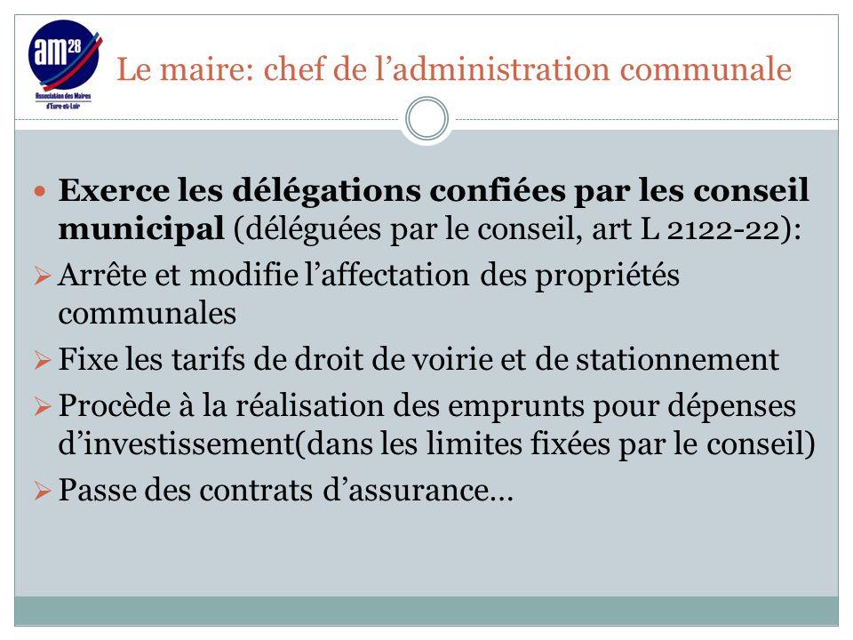 Le maire: chef de l'administration communale Exerce les délégations confiées par les conseil municipal (déléguées par le conseil, art L 2122-22):  Ar