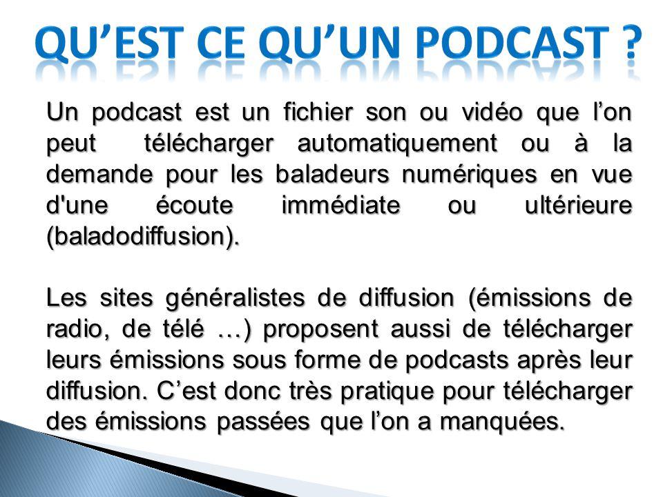 Un podcast est un fichier son ou vidéo que l'on peut télécharger automatiquement ou à la demande pour les baladeurs numériques en vue d une écoute immédiate ou ultérieure (baladodiffusion).