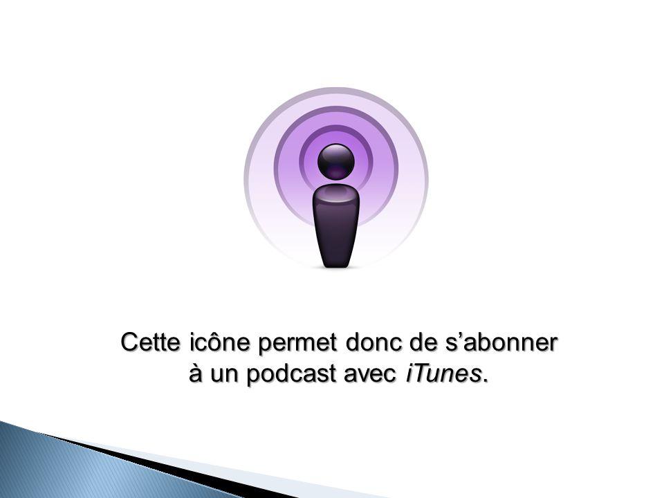 Cette icône permet donc de s'abonner à un podcast avec iTunes.