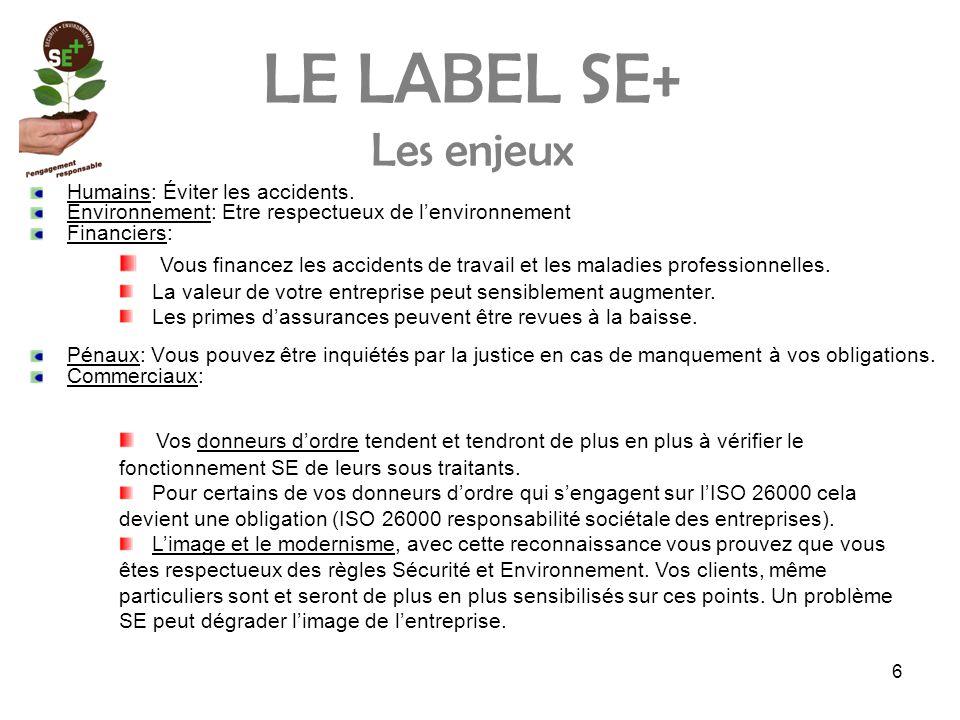 6 LE LABEL SE+ Les enjeux Humains: Éviter les accidents.