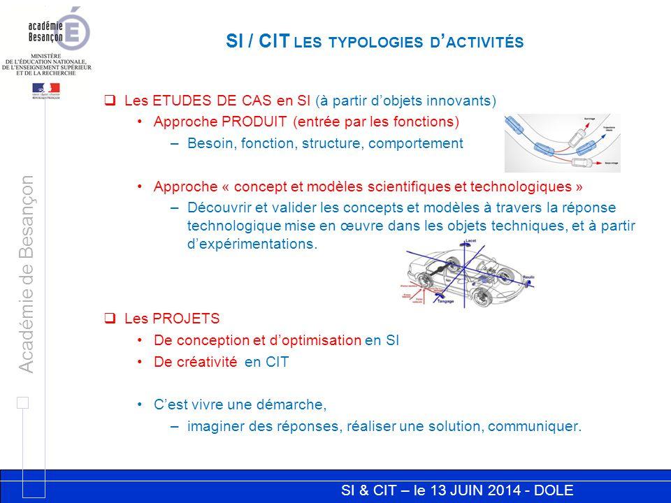 SI & CIT – le 13 JUIN 2014 - DOLE Académie de Besançon  Les ETUDES DE CAS en SI (à partir d'objets innovants) Approche PRODUIT (entrée par les foncti