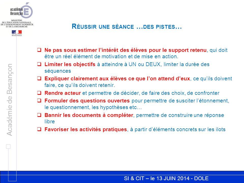 SI & CIT – le 13 JUIN 2014 - DOLE Académie de Besançon  Ne pas sous estimer l'intérêt des élèves pour le support retenu, qui doit être un réel élémen