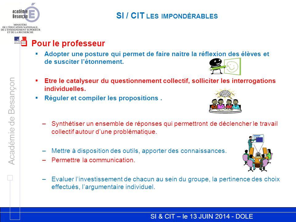 SI & CIT – le 13 JUIN 2014 - DOLE Académie de Besançon SI / CIT LES IMPONDÉRABLES –Synthétiser un ensemble de réponses qui permettront de déclencher le travail collectif autour d'une problématique.