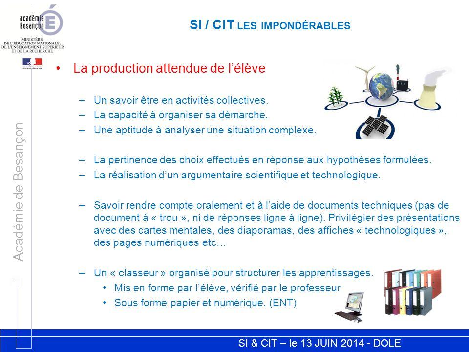 SI & CIT – le 13 JUIN 2014 - DOLE Académie de Besançon SI / CIT LES IMPONDÉRABLES La production attendue de l'élève –Un savoir être en activités collectives.