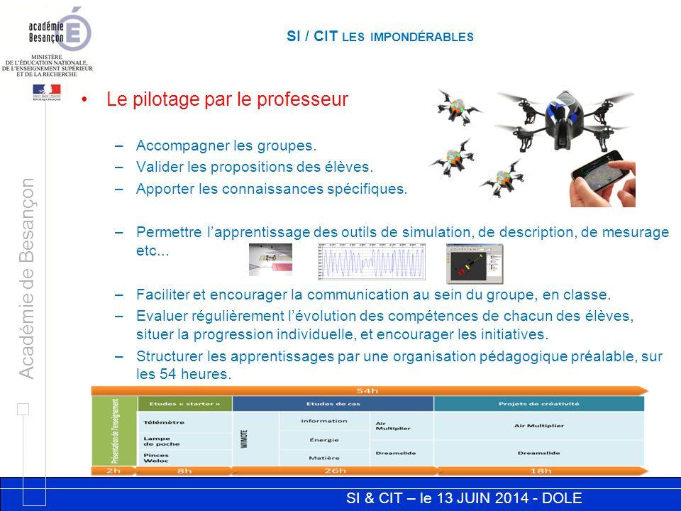SI & CIT – le 13 JUIN 2014 - DOLE Académie de Besançon SI / CIT LES IMPONDÉRABLES Le pilotage par le professeur –Accompagner les groupes. –Valider les