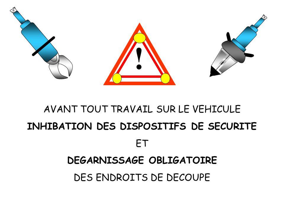 ! AVANT TOUT TRAVAIL SUR LE VEHICULE INHIBATION DES DISPOSITIFS DE SECURITE ET DEGARNISSAGE OBLIGATOIRE DES ENDROITS DE DECOUPE