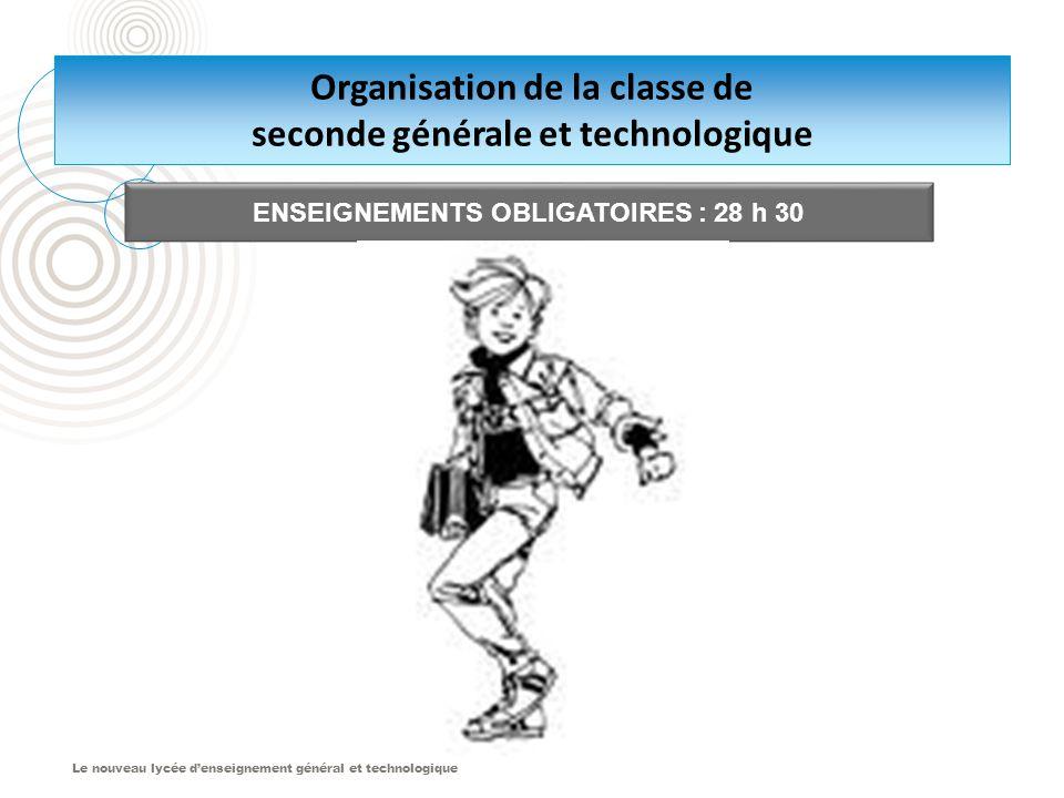 Le nouveau lycée d'enseignement général et technologique Organisation de la classe de seconde générale et technologique ENSEIGNEMENTS OBLIGATOIRES : 28 h 30